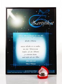 Zertifikat Sternschnuppe - Echte Meteoriten